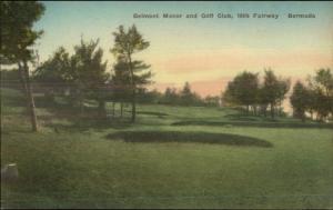Bermuda Belmont Manor Golf Course Hand Colored Postcard #3 16th Fairway