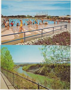 (2 cards) Swimming Pool Genesee River below Dam Letchworth State Park New York