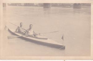 RP: two men rowing , Linz , Danube River , Austria , 00-10s