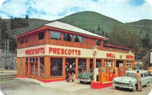 Mullan ID Prescott's Shell Gas Station Pumps Old Cars Postcard