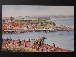 Yorkshire: WHITBY Tait Hill Pier & West Cliff - Old Postcard by Valentine's A514