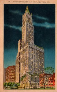 New York City Woolworth Building At Night