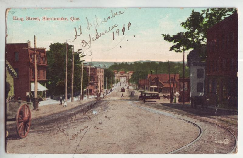 P966 old card king street scene trolleys etc sherbrooke quebec canada