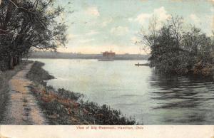Hamilton Ohio~Big Reservoir~Man in Canoe~Dirt Path under Trees~1910 Postcard