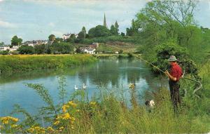 B101039 the river wye fishing peche   uk 14x9cm