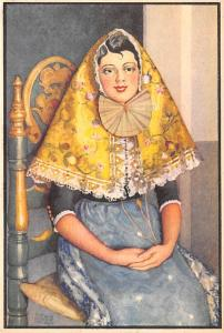 Spain Old Vintage Antique Post Card Woman in costume Writing on back