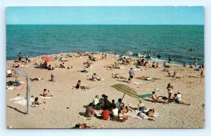 Postcard MA Cape Cod Dennisport Beach View of Beach Bathers I16