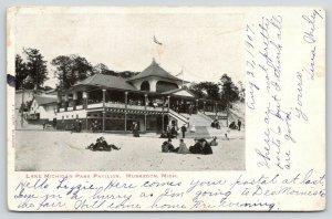 Muskegon Michigan~Lake Michigan Park Pavilion~Folk on Lawn-Steps-Porch~1907 B&W