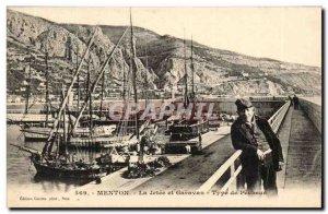 Menton - La Jetee and Garavan -Type Fisherman - Old Postcard boat ship TOP