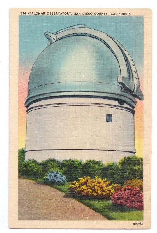 Palomar Observatory San Diego CA 1940 Linen