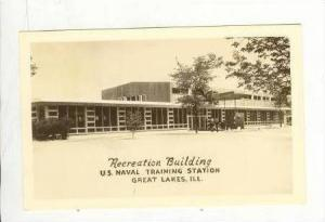Real Photo: Recreation Building, US Naval Training Station, Great Lakes, Illi...