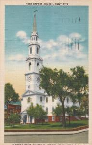 Providence RI, Rhode Island - Oldest Baptist Church in America - pm 1949 - Linen