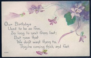 'Our Birthdays Used to be few....' Violets Poem Used c1910s