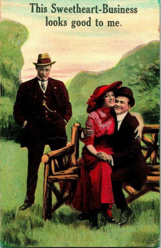Vtg Postcard Comic Romance 1913 - This Sweetheart Business Looks Good To me