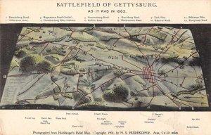 Gettysburg Pennsylvania Battlefield Map Vintage Postcard AA36823