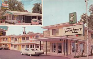 ST GEORGE UT TRAVELODGE MOTEL~TRAFALGA RESTAURANT~FINNED CADILLAC POSTCARD 1965