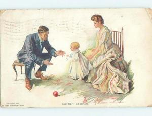 Pre-Linen signed TIES THAT BIND - BABY WALKS FROM MOM AND DAD HL2546