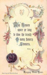 New Year Calligraphy Scroll~Burns~White Purple Heather~Wax Seal~Emb~A Von Beust
