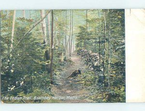 Divided-back INDIAN TRAIL THROUGH WOODS Boothbay Harbor Maine ME AD8064