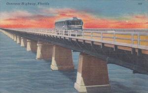 Florida Greyhound Bus On Seven Mile Bridge In Florida Keys