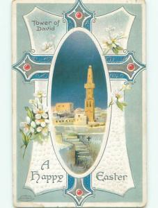 Pre-Linen easter religious TOWER OF DAVID IN CITY OF JERUSALEM ISRAEL W7351