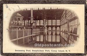 Amusement Park Postcard Post Card Swimming Pool in Steeplechase Park Coney Is...
