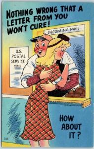 Vintage Comic Postcard Postal Worker Consoles Upset Girlfriend Linen c1940s