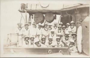 HMCS Rainbow Crew Sailors Canada Navy Ship Boat Canadian Real Photo Postcard E53