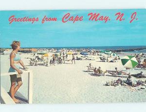 Pre-1980 BEACH SCENE Cape May - Near Wildwood & Vineland New Jersey NJ G5957