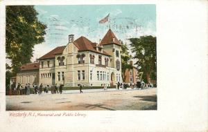 Vintage Postcard Westerly Rhode Island RI Memorial and Public Library