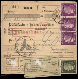 Germany 1943 WWII Occupied Riga Latvia Ostland Postage Due Label Schlawe C 84769