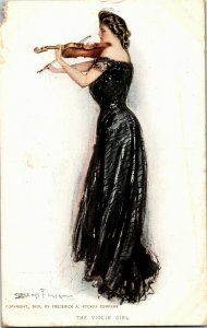 Woman Black Gown Playing Violin Girl Artist Clarence Underwood Vtg Postcard A02