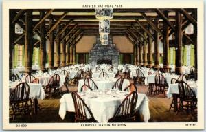 Rainier National Park Washington Postcard PARADISE INN Dining Room Linen 1940s