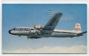 United Airlines DC7 Plane Aircraft 1959 postcard