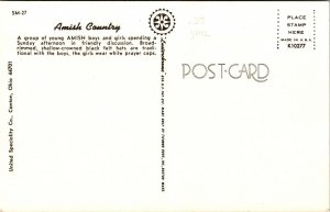 Postcard Amish Country Young Boys Girls Talking Sunday Afternoon Unposted