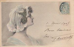 M.M.VIENNE : Female Head Portrait #6 , 1905