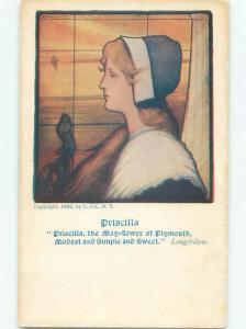 Pre-Linen Priscilla Alden FAMOUS PILGRIM FROM PLYMOUTH MASSACHUSETTS MA AC4858