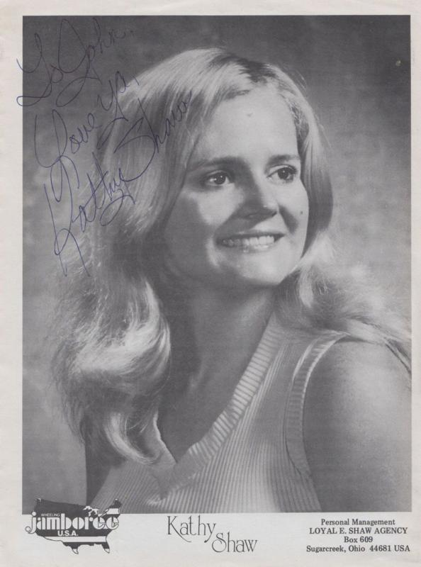 Kathy Shaw Country & Western Ohio Morrow County 70s Singer 10x8 Hand Signed Card