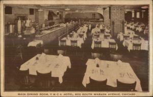 Chicago IL YMCA Hotel Main Dining Room c1910 Postcard