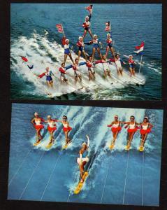 FL 2 Postcards Cypress Gardens Water Ski Skiing Winter Haven Florida Postcards