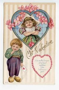 Valentine's Day Be My Valentine Young Couple Embossed Postcard