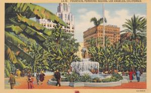 California Los Angeles Pershing Square Fountain Curteich