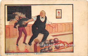 Old Vintage Bowling Postcard Post Card A Strike Unused