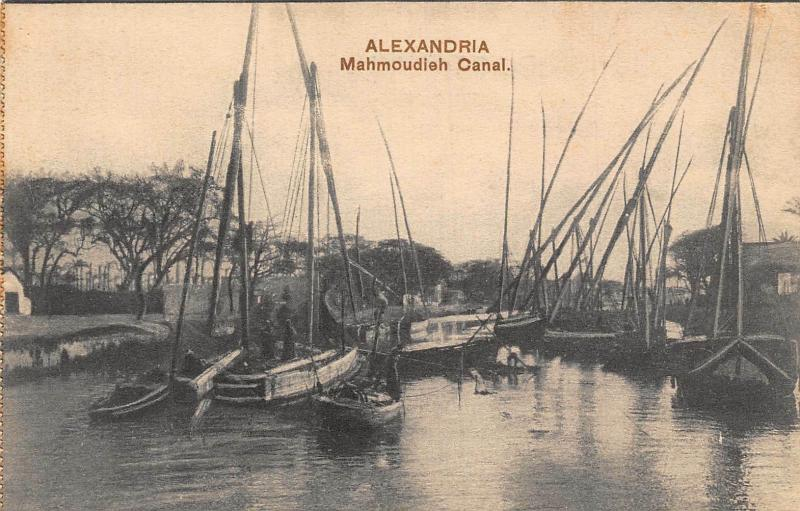 Egypt Alexandria Mahmoudieh Canal Harbour Boats Postcard