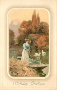 Victorian Lady Stands in Rowboat~Push Pole~White Swans~Grassy Bank~Erika~Germany