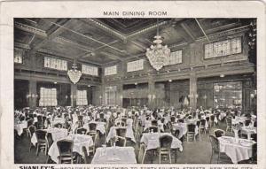 New York City Main Dining Room Shanley's Restaurant 1913