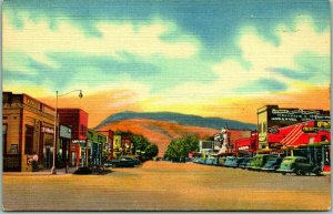 1940s CODY, Wyoming Postcard MAIN STREET and Business District Linen Unused