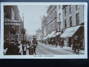 NORTHAMPTON Gold Street shows HOTEL & BOYS SELLING NEWSPAPERS c1905 RP Postcard