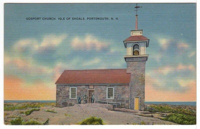 Gosport Church Isle of Shoals Portsmouth NEW HAMPSHIRE Linen Postcard