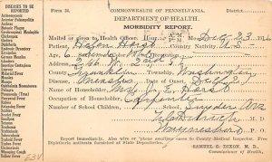 Department of Health, Morbidity Report Pennsylvania, USA Medical 1916